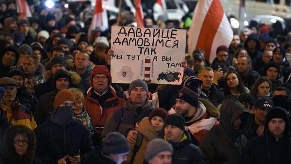 Białorusini protestują przeciwko integracji z Rosją, Mińsk.  - Sputnik Polska
