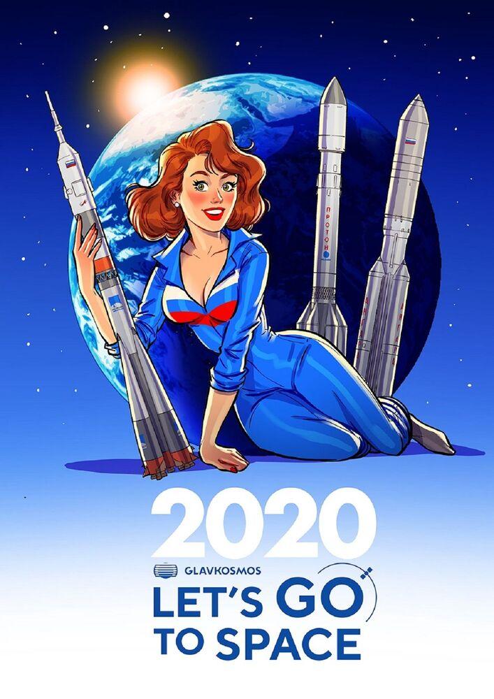 Kalendarz pin-up Roskosmosu: Let`s go to space.