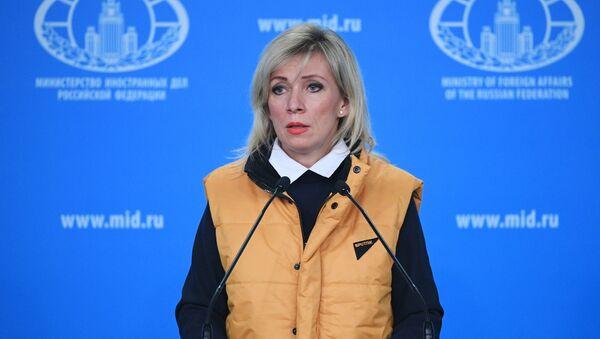 Rzecznik Ministerstwa Spraw Zagranicznych Rosji Maria Zacharowa w czasie briefingu - Sputnik Polska