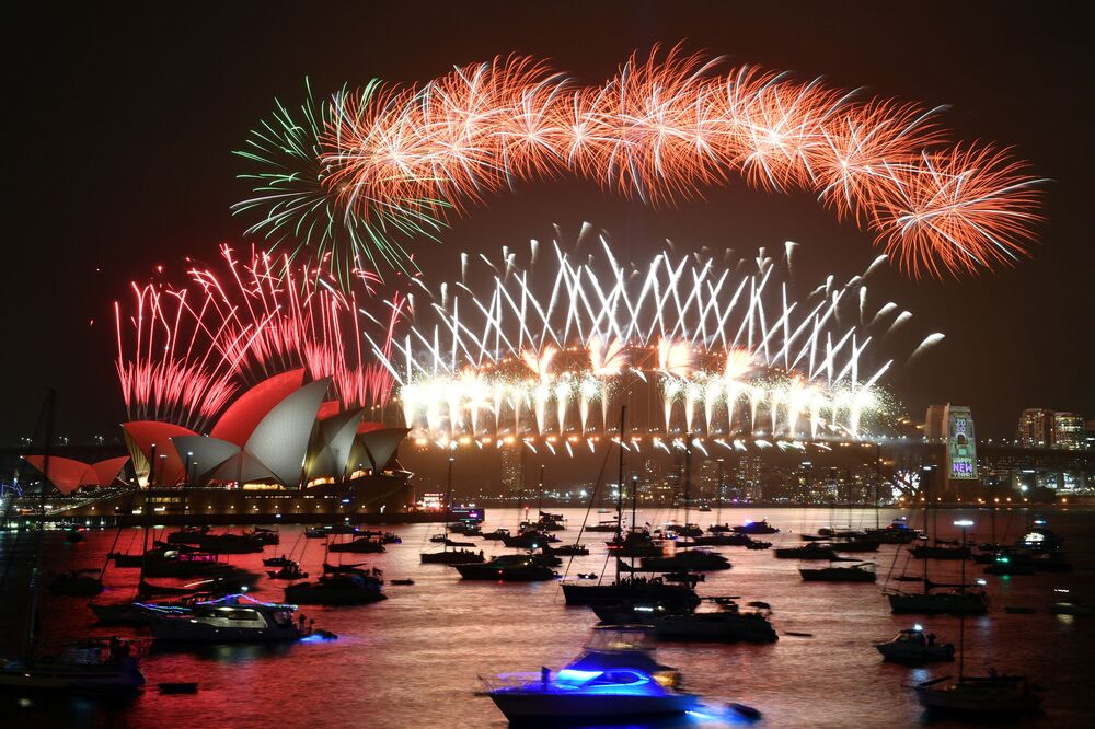 Fajerwerki podczas obchodów nowego roku w Sydney w Australii