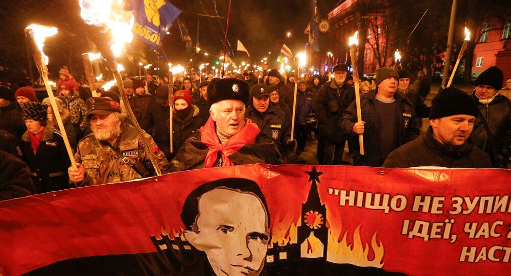 Marsz upamiętniający 111. rocznicę urodzin Stepana Bandery w Kijowie