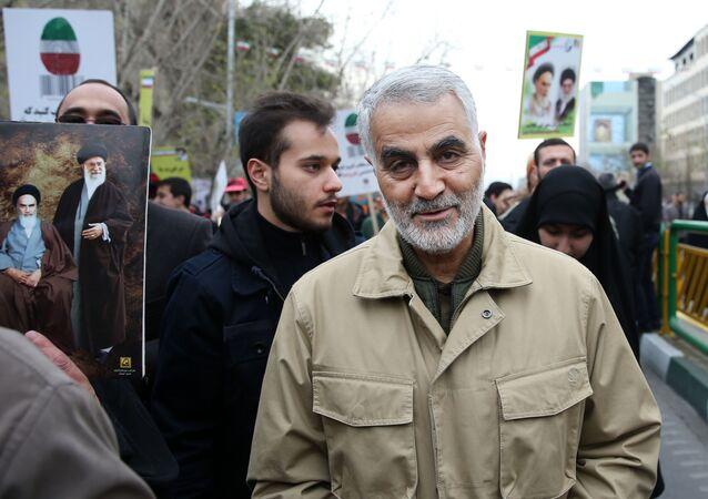 Dowódca elitarnej jednostki Al-Kuds Irańskiego Korpusu Rewolucji Islamskiej generał Kasem Sulejmani w Teheranie