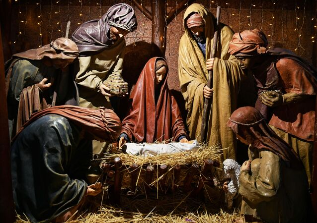Szopka bożonarodzeniowa w Pietropawłowskim Soborze Katedralnym w Symferopolu.