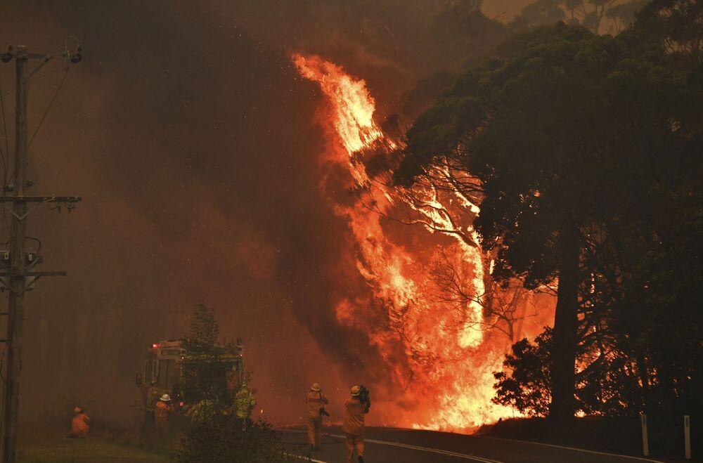 Strażacy podczas akcji gaszenia pożarów leśnych w Bilpin, 90 kilometrów od Sydney