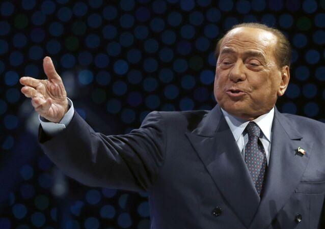 Były premier Włoch Silvio Berlusconi w czasie wystąpienia w Zagrzebiu, Chorwacja