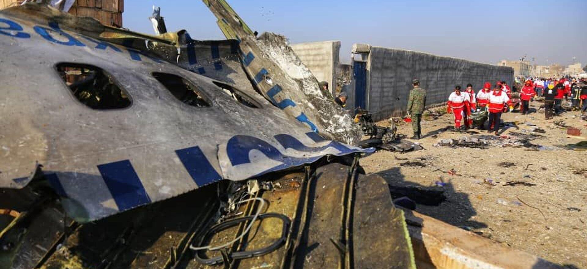 Na miejscu katastrofy samolotu pasażerskiego Ukrainy Boeinga 737-800 w Iranie - Sputnik Polska, 1920, 21.05.2021
