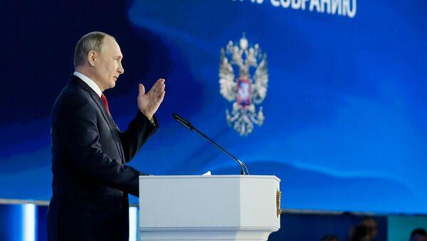 Prezydent Rosji Władimir Putin wygłasza coroczne orędzie do Zgromadzenia Federalnego - Sputnik Polska