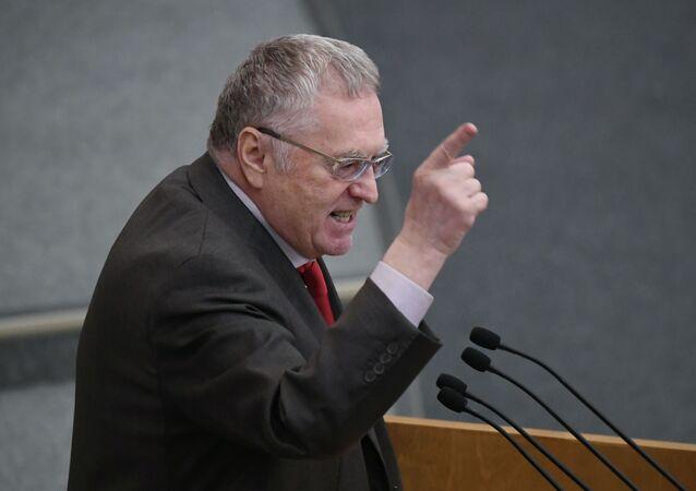 Lider partii LDPR Władimir Żyrinowski na posiedzeniu plenarnym Dumy Państwowej Federacji Rosyjskiej