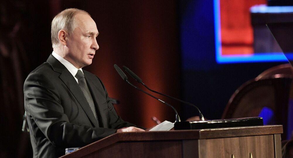 """Prezydent Rosji Władimir Putin przemawia na Międzynarodowym Forum """"Zachowanie pamięci o Holokauście, zwalczanie antysemityzmu"""" w Jerozolimie"""