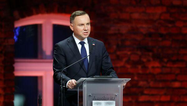 Prezydent Andrzej Duda podczas uroczystości poświęconych 75. rocznicy wyzwolenia obozu koncentracyjnego Auschwitz-Birkenau - Sputnik Polska
