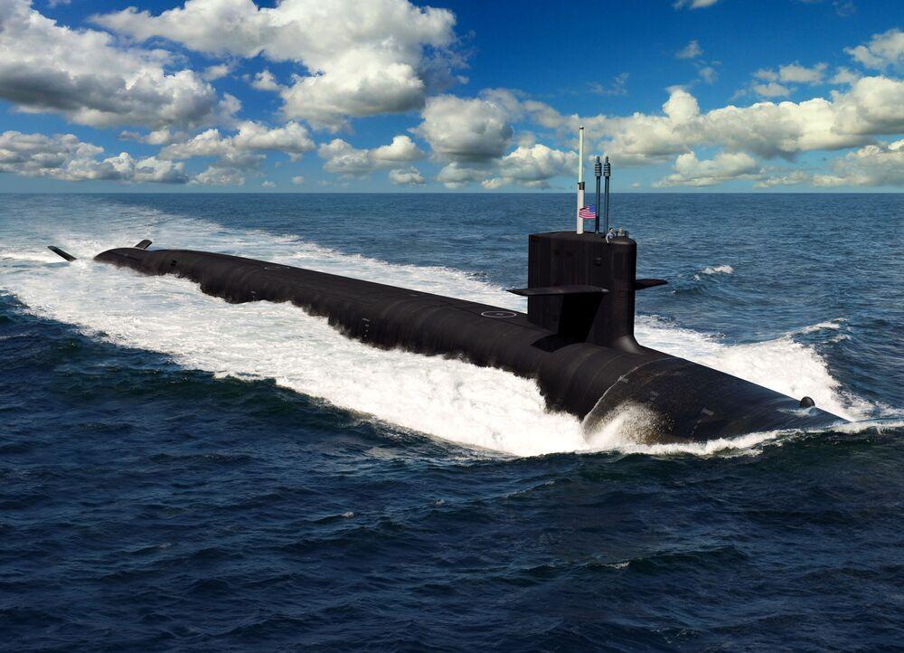 """Ilustracja przyszłego amerykańskiego okrętu podwodnego """"Columbia-class"""""""