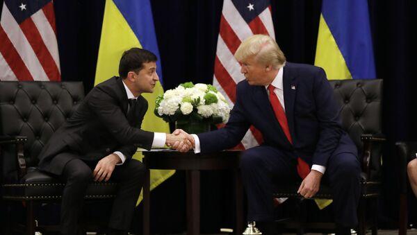 Prezydent Ukrainy Wołodymyr Zełenski na spotkaniu z prezydentem USA Donaldem Trumpem w Nowym Jorku - Sputnik Polska
