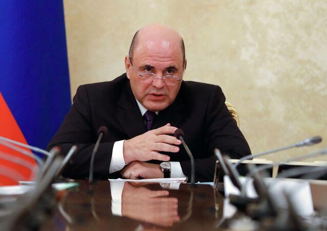 Premier Rosji Michaił Miszustin na spotkaniu z wicepremierami Rosji