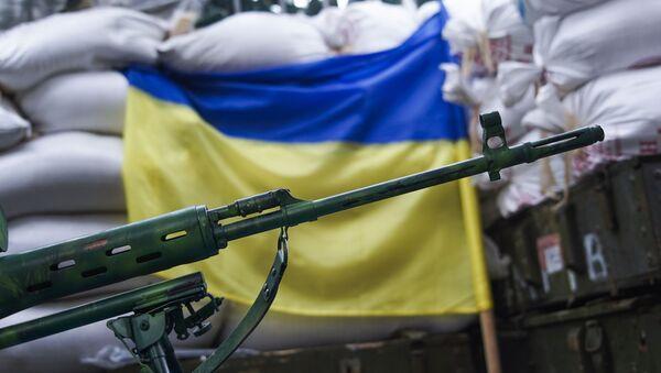 Karabin snajperski na tle flagi ukraińskiej - Sputnik Polska
