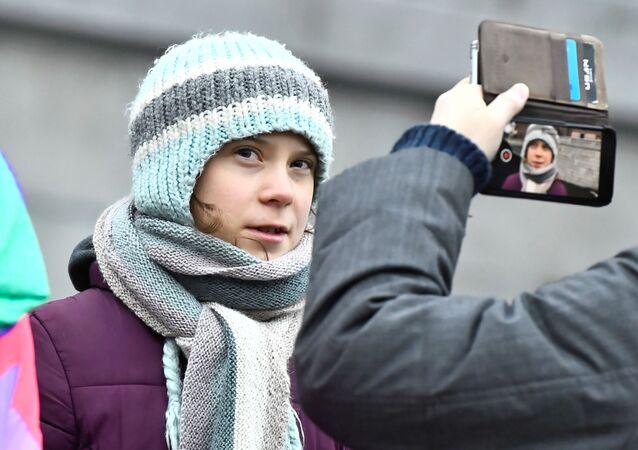 Aktywistka ekologiczna Greta Thunberg na akcji w Szwecji