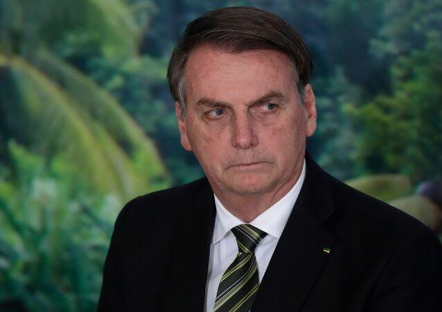 Prezydent Brazylii Jair Bolsonaro w Pałacu Planalto w Brazylii