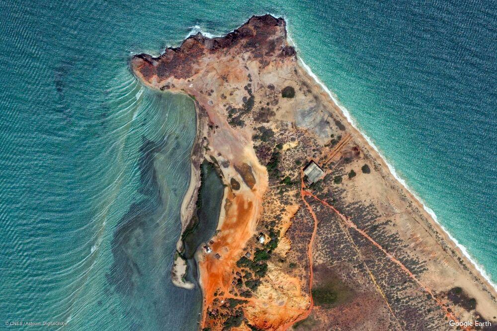 Zdjęcie z kosmosu obszaru w rejonie miasta El Bichar w stanie Nueva Esparta, Wenezuela.