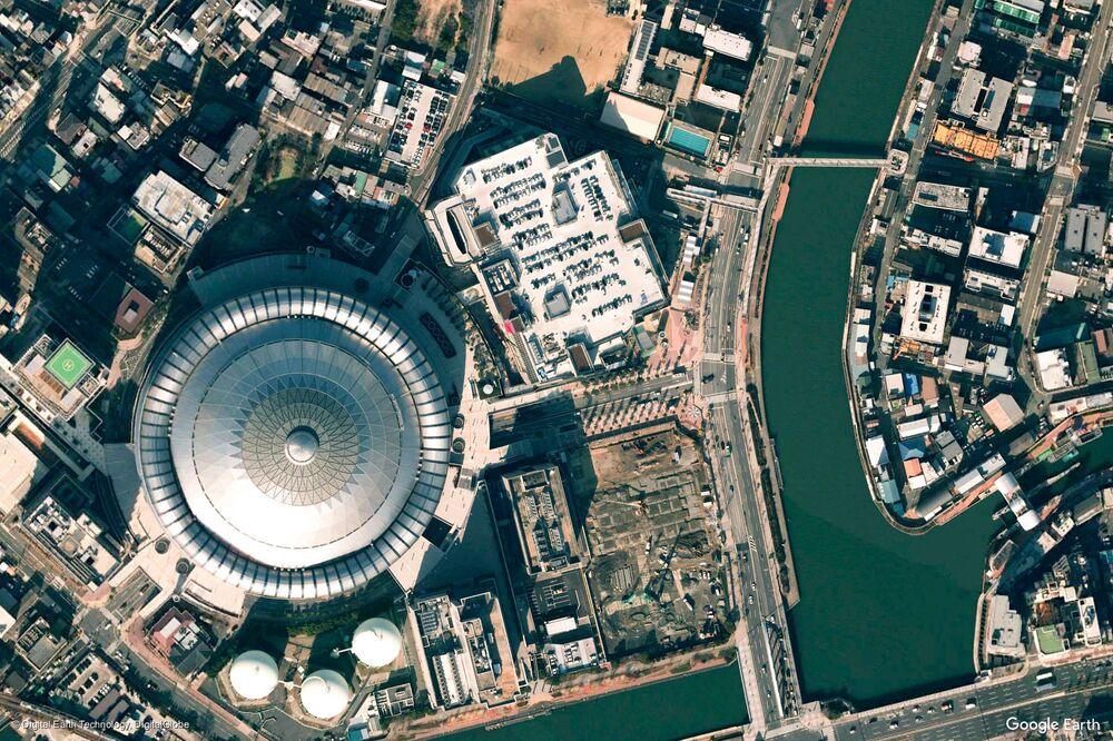 Zdjęcie z kosmosu miasta Osaka, Japonia.