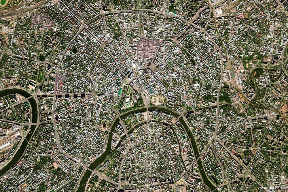 Zdjęcie z kosmosu miasta Moskwa, Rosja.