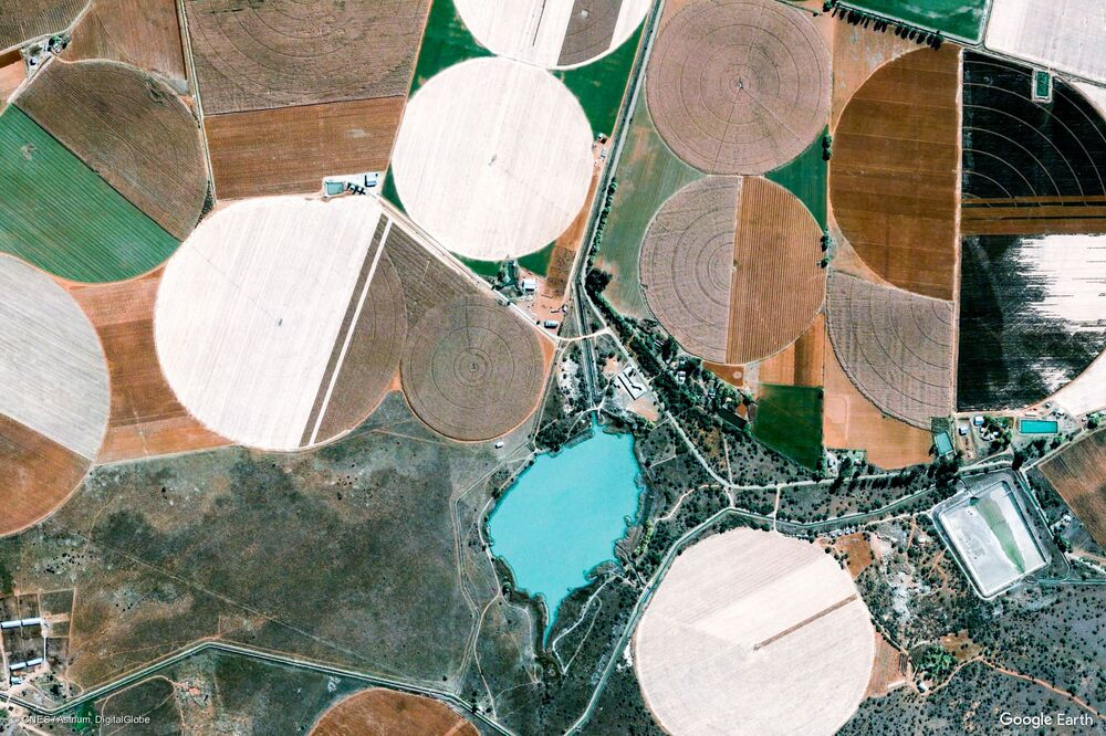 Zdjęcie z kosmosu obszaru w prowincji Ksarip, RPA.
