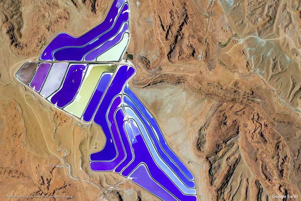 Zdjęcie z kosmosu obszaru w rejonie miasta Moab w stanie Utah, USA.