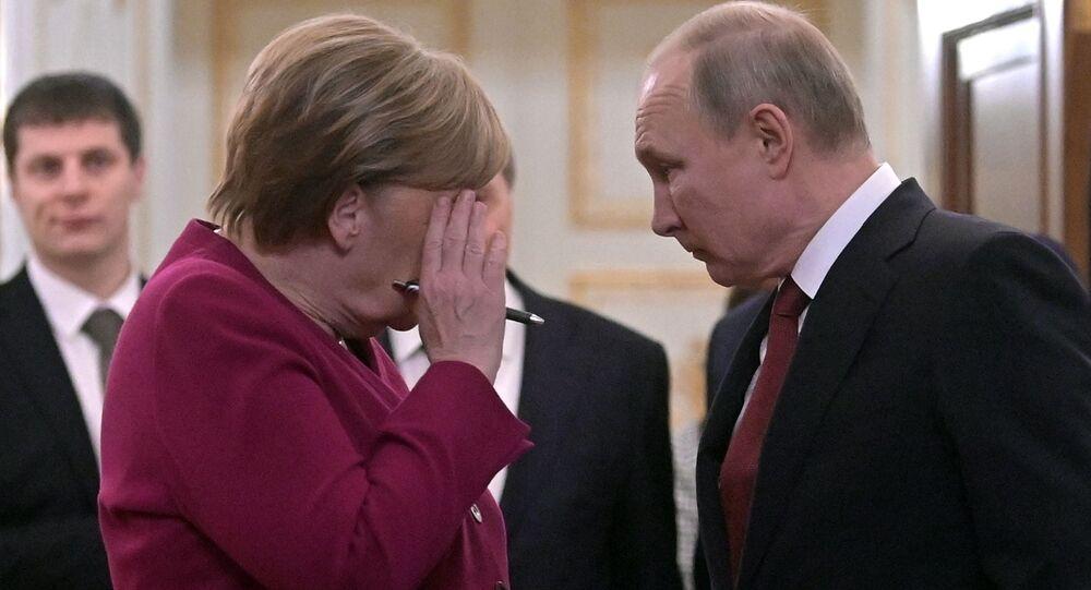Prezydent Rosji i Angela Merkel