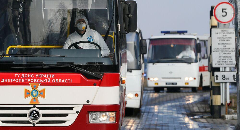 Autobus z ewakuowanymi obywatelami Ukrainy.
