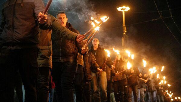 Marsz z pochodniami upamiętniający postać generała Christo Łukowa. Bułgaria. - Sputnik Polska