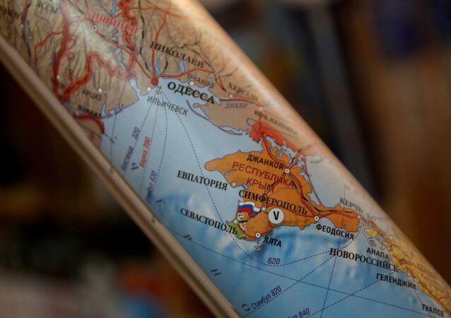 Mapa, na której Krym stanowi część terytorium Rosji