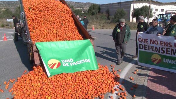 Hiszpańscy rolnicy dotknięci przez sankcje wobec Rosji wyrzucają na ulice zgniłe owoce - Sputnik Polska