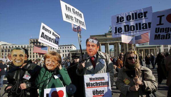 Niemcy protestują w Berlinie przeciwko zawarciu TTIP - Sputnik Polska