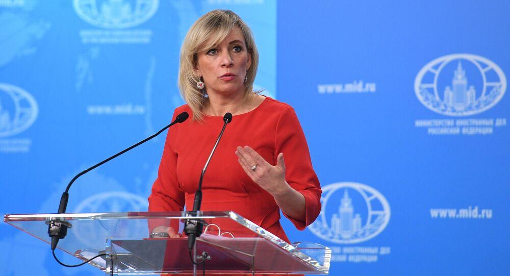 Rzeczniczka MSZ Rosji Maria Zacharowa w czasie briefingu w Moskwie