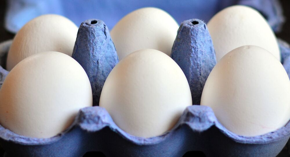 Jaja kurze w otwartym pudełku kartonowym