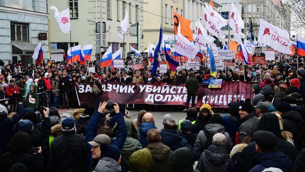 Uczestnicy marszu pamięci Borysa Niemcowa w Moskwie. - Sputnik Polska