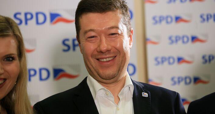Lider partii Wolność i Demokracja Bezpośrednia Tomio Okamura