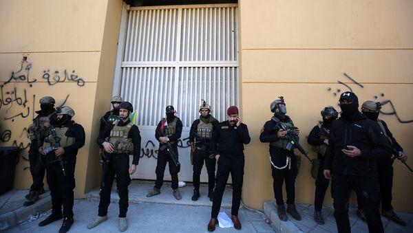 """Siły bezpieczeństwa Iraku obok amerykańskiej ambasady w """"zielonej strefie. - Sputnik Polska"""