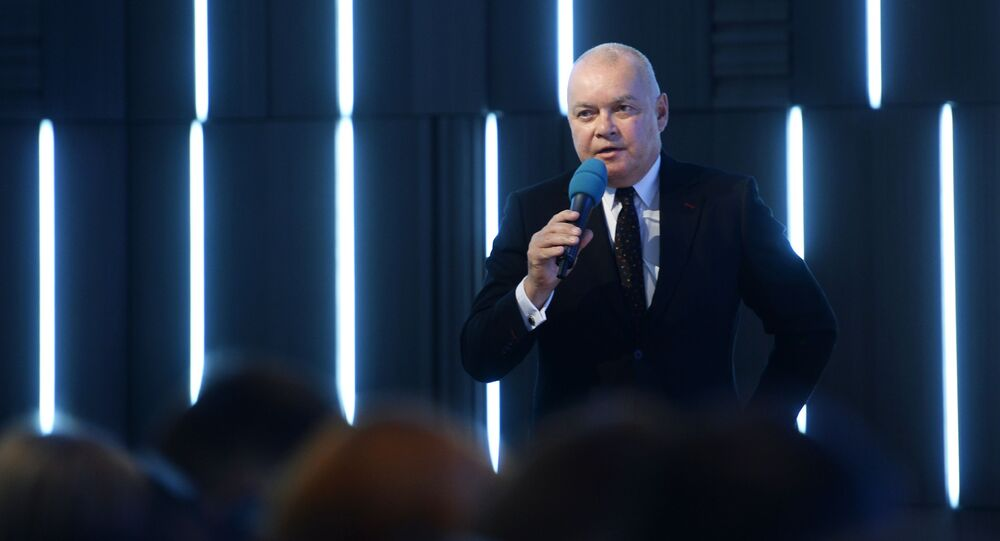 """Dyrektor generalny Międzynarodowej Agencji Informacyjnej """"Rossija siegodnia"""" Dmitrij Kisielev."""