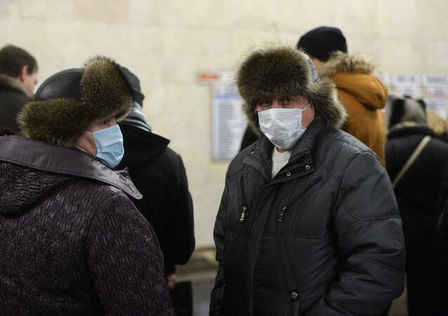 Pasażerowie metra w Moskwie