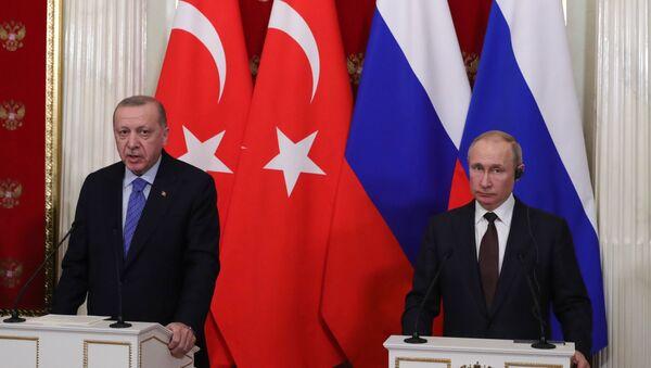 Prezydenci Rosji i Turcji na konferencji prasowej po spotkaniu w Moskwie - Sputnik Polska