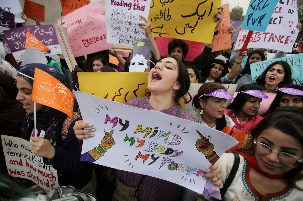 Demonstracja kobiet w Pakistanie