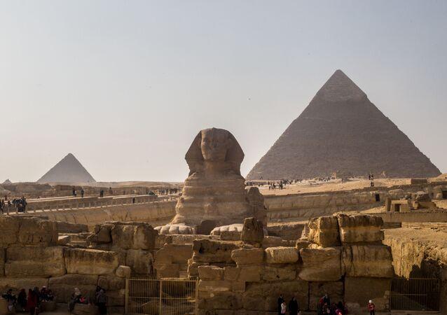 Piramidy w Gizie, Egipt.