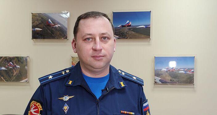 """Major Siergiej Sienkiewicz, pilot nawigator """"Striży"""""""