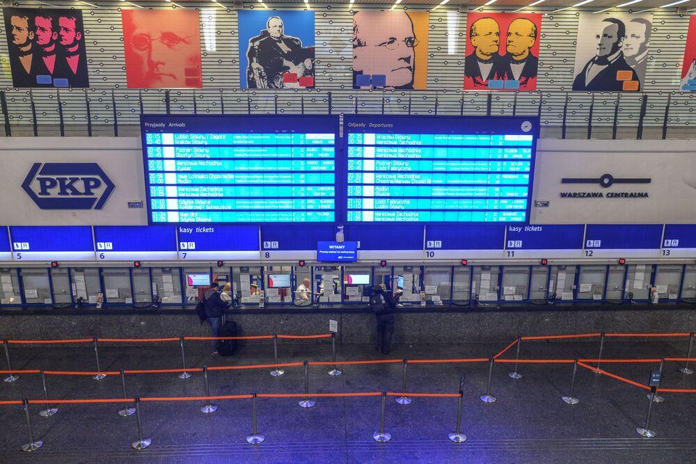 Zamknęte kasy na Drowcu Centralnym w Warszawie