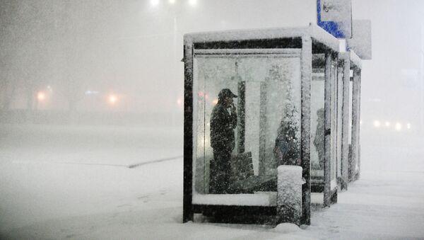 Ludzie na przystanku podczas opadów śniegu w Podolsku - Sputnik Polska