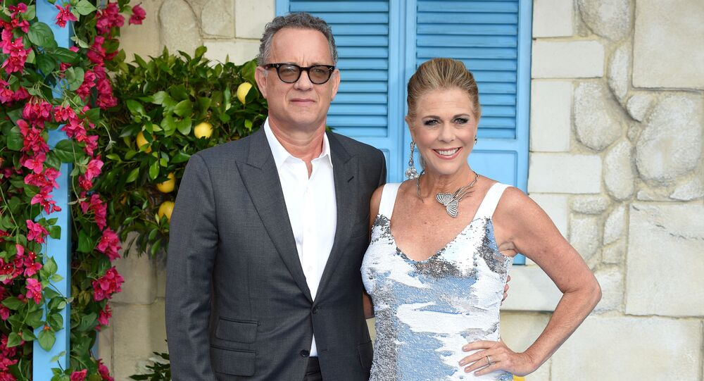 Amerykański aktor Tom Hanks z żoną
