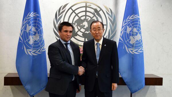 Sekretarz generalny ONZ Ban Ki-moon i ministr spraw zagranicznych Ukrainy Pawło Klimkin w Nowym Jorku - Sputnik Polska