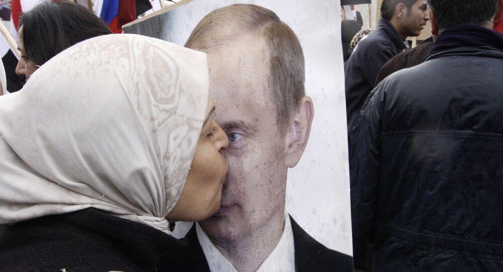Syryjka w akcji poparcia na rzecz Rosji w Damaszku, Syria