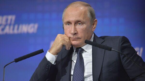 Prezydent Rosji Władimir Putin na forum WTB Kapitału Rosja woła! w Moskwie - Sputnik Polska