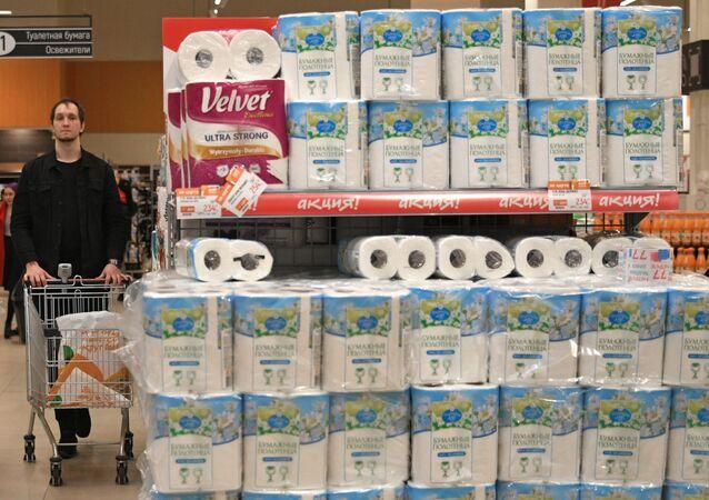 Papier toaletowy w moskiewskim hipermarkecie