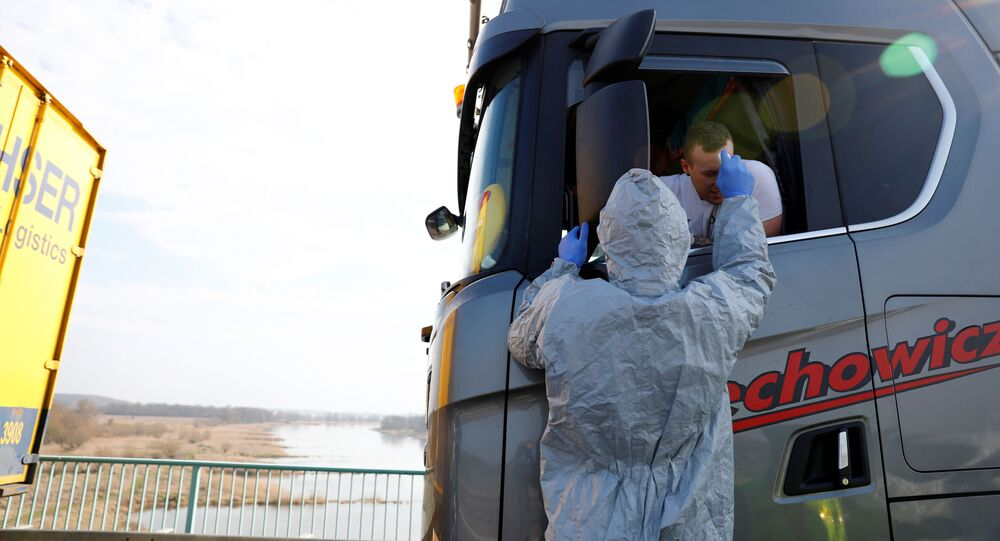 Kontrola temperatury kierowców na granicy polsko-niemieckiej